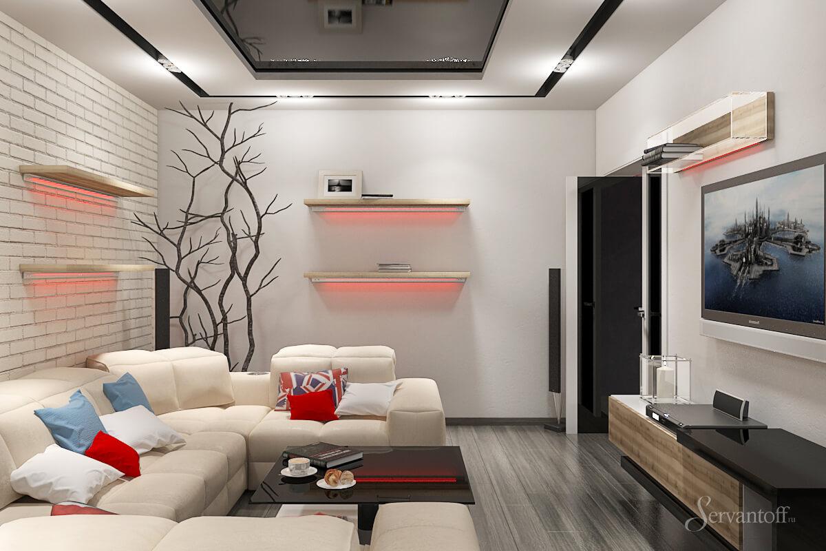 Дизайн гостиной 17 кв.м реальное