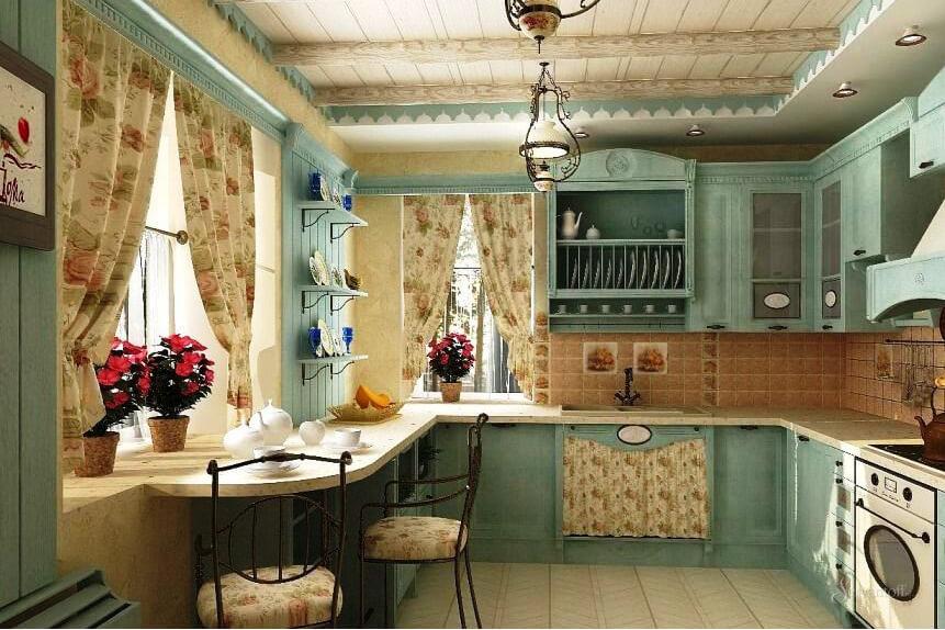 Дизайн кухни столовой в стиле прованс
