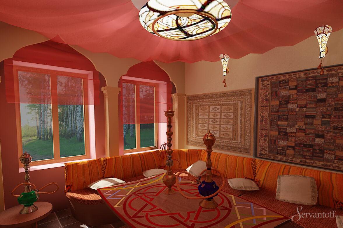 Дизайн потолка по восточном стиле