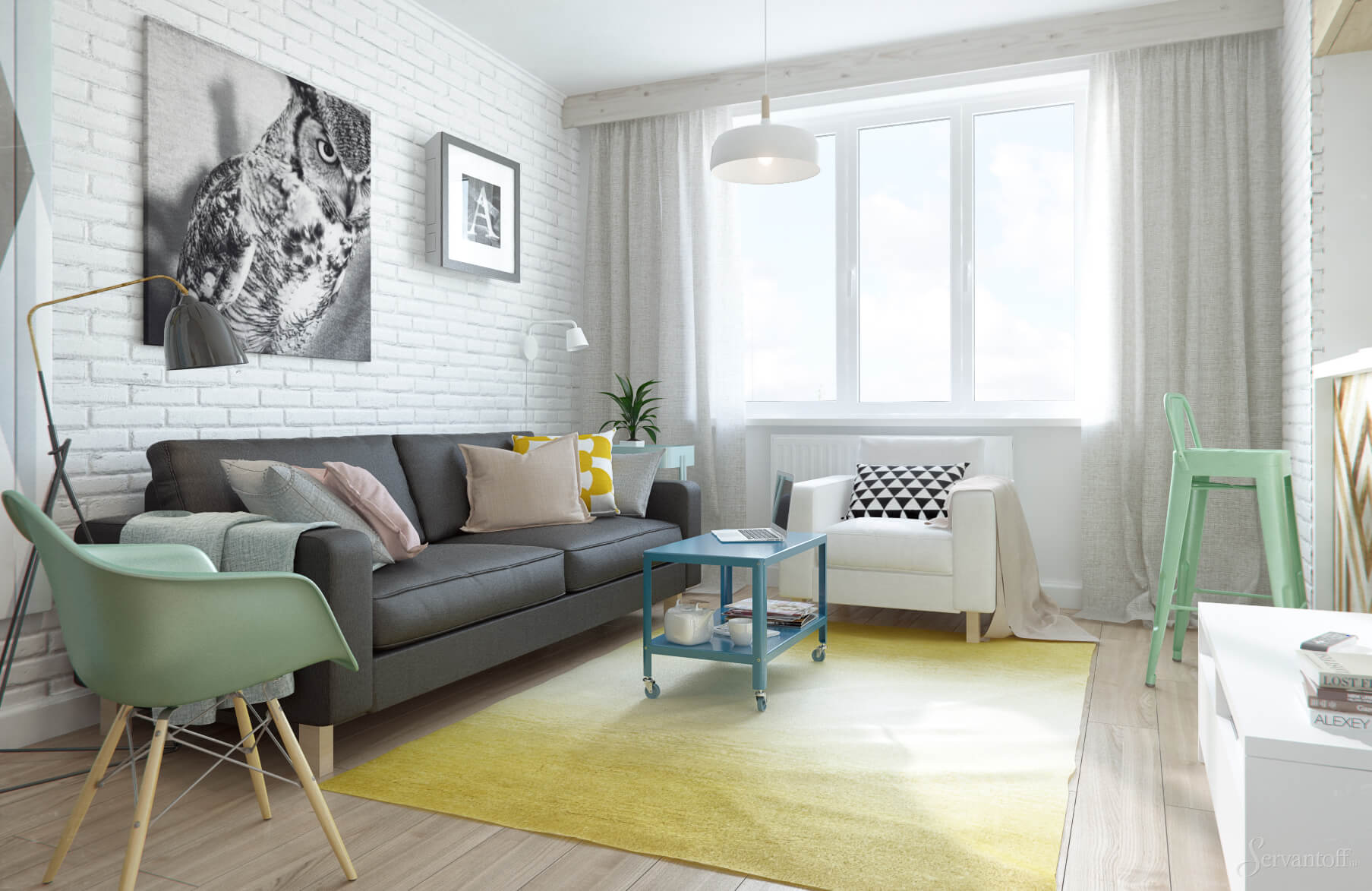 Белая кирпичная стена в интерьере гостиной фото в квартире-студии