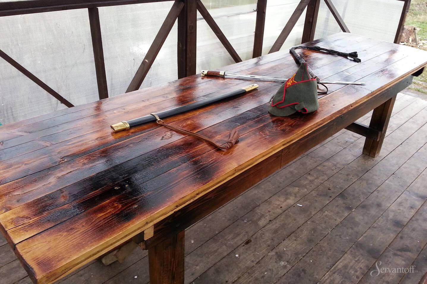 Деревянный стол под старину своими руками фото