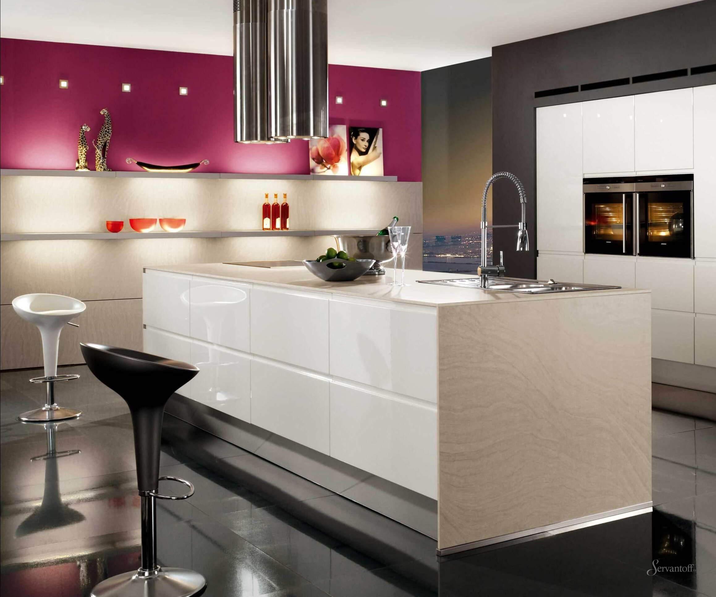 Кухни гостиные в стиле хай тек дизайн