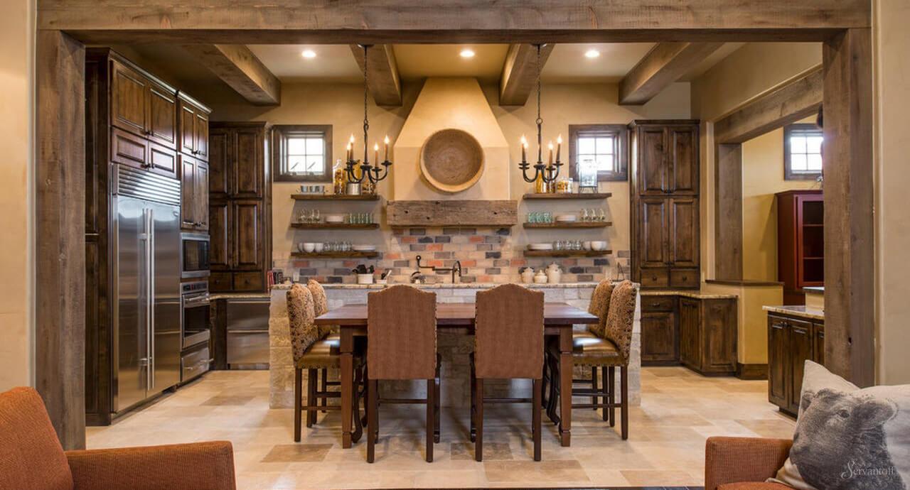 Интерьер кухни столовой в стиле кантри фото