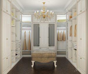 дизайн гардеробной в классическом стиле
