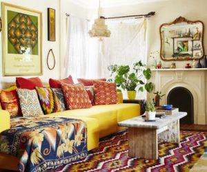 дизайн интерьера гостиной в стиле бохо