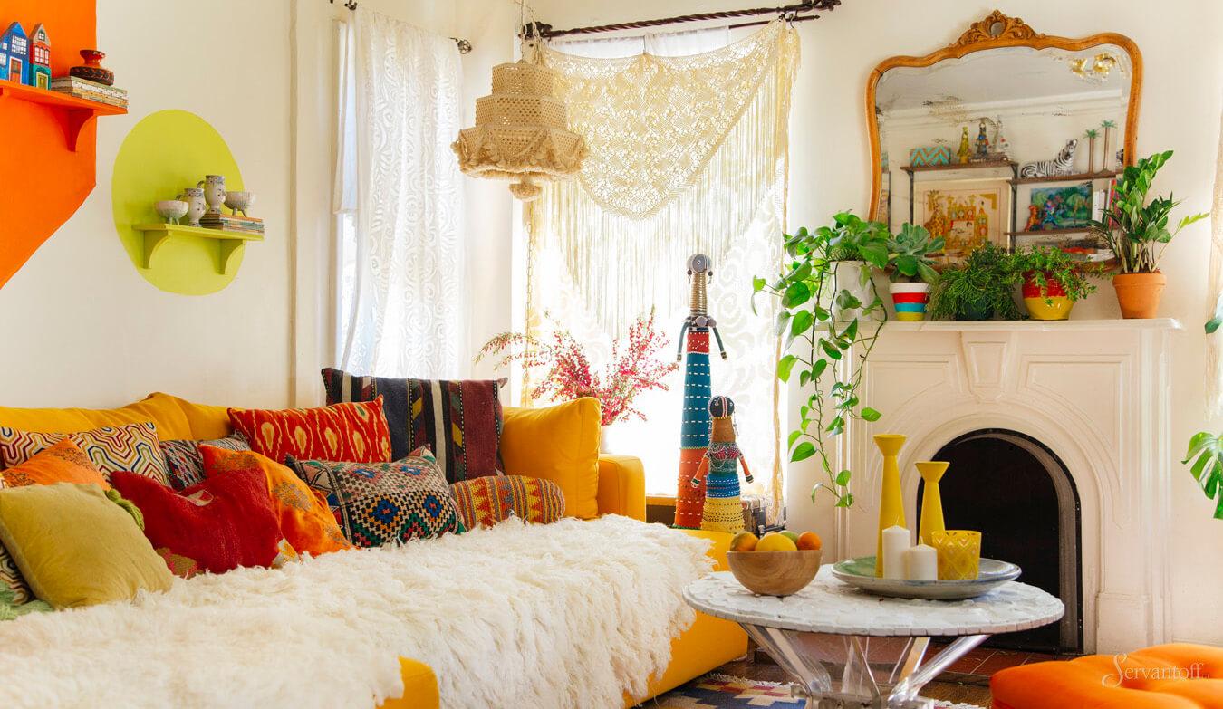гостиная в стиле бохо