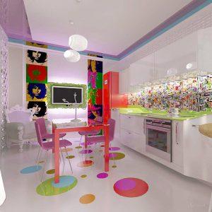 дизайн кухни в стиле поп арт