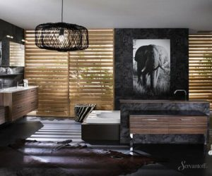 тёмная ванная комната в африканском стиле