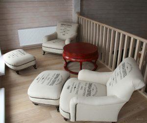 мягкие кресла в стиле кантри