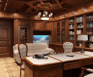 рабочий кабинет в классическом стиле