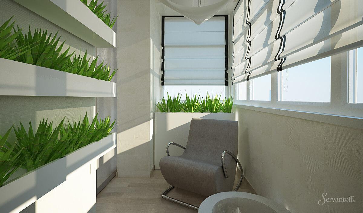 Лоджия, балкон в эко стиле.