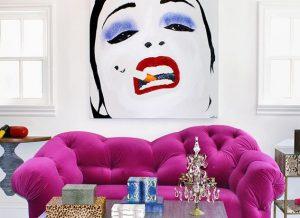 поп арт диван в интерьере