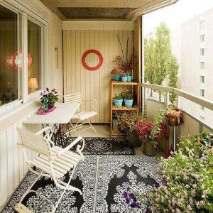 дизайн балкона в стиле кантри