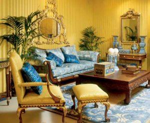 колониальный стиль в дизайне гостиной