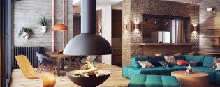 лофт дизайн гостиной