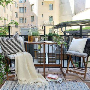 балкон открытый скандинавский стиль