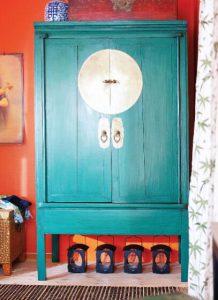 бирюзовый шкаф в китайском стиле