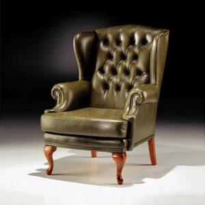 кресло кожаное в английском стиле
