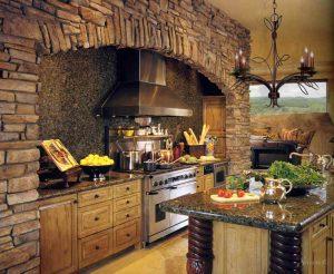 колониальный стиль в интерьере кухни