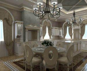 кухня гостиная барокко