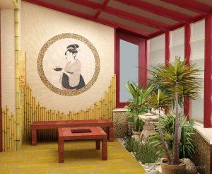отделка балкона в японском стиле