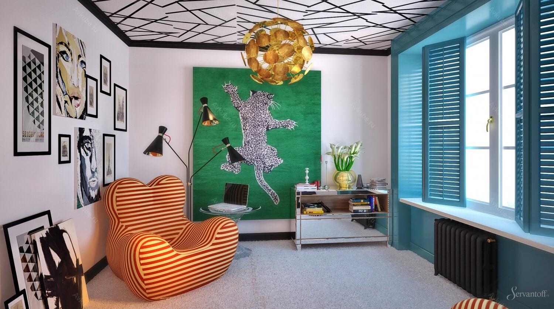 дизайн гостиной в стиле поп арт