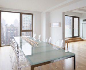 гостиная столовая в стиле минимализм